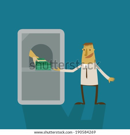 Businessman earning thought online banking - stock vector