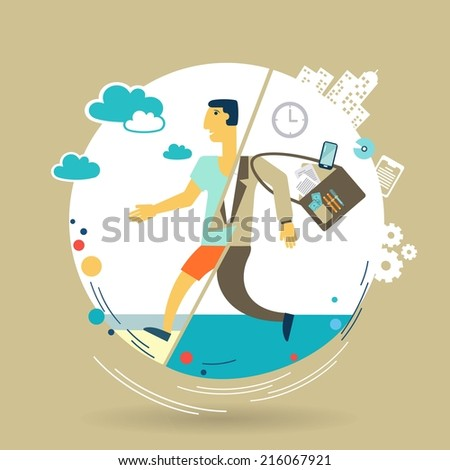 businessman escapes from work to rest illustration - stock vector