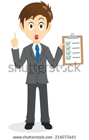 Businessman Explain And Holding A Clipboard With Check List - stock vector
