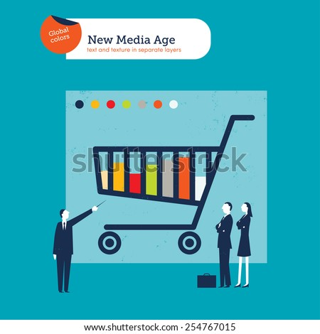 Businessman explaining a cart chart to a businessmen and businesswoman. Vector illustration Eps10 file. Global colors. Text and Texture in separate layers. - stock vector
