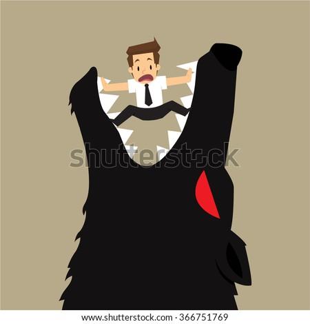 businessman fall into a trap devil wolf. vector - stock vector