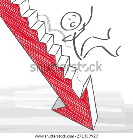 businessman falls down the stairs - stock vector