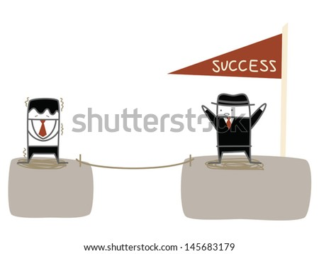 businessman fear to jump to the success and achievement cliff - stock vector