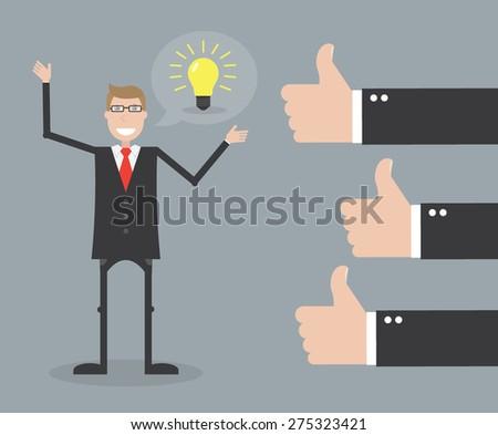 Businessman feedback - stock vector