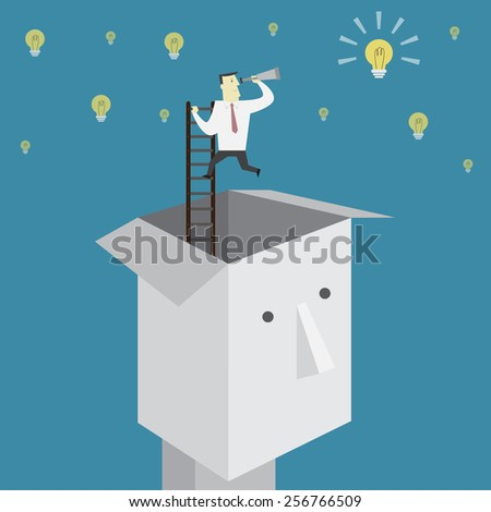 Businessman find an idea outside the box - Vector - stock vector