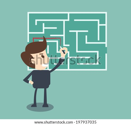 Businessman finding the solution of a maze  - stock vector