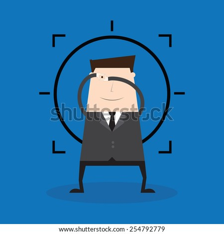 businessman finger frame focus - stock vector