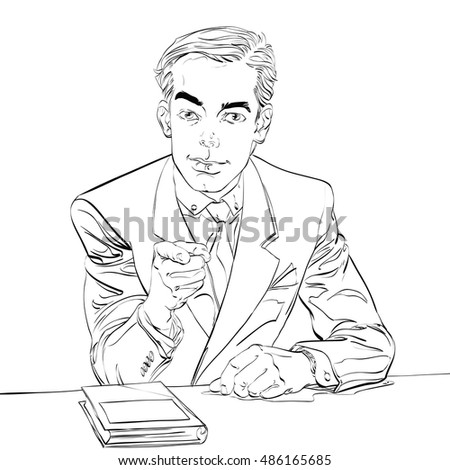 businessman finger pointing at you, hand drawn illustration. We need you