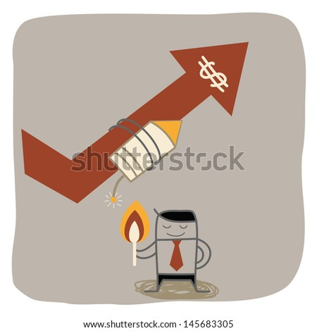 businessman fire rocket to up selling - stock vector