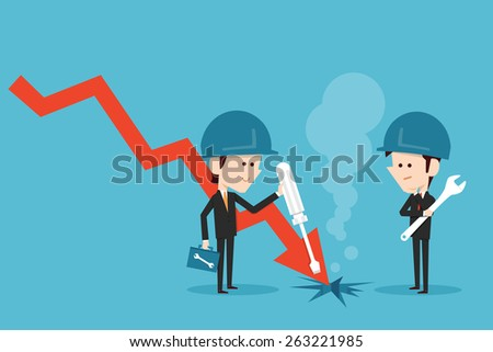 Businessman fixing stock graph, vector.