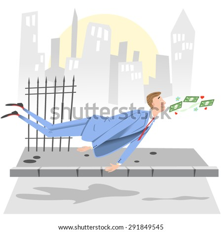 Businessman floating with smell of money in his nose in urban setting - stock vector