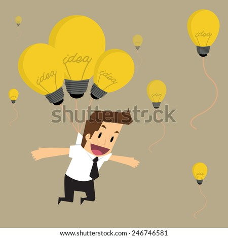 businessman fly with idea bulb balloon.vector