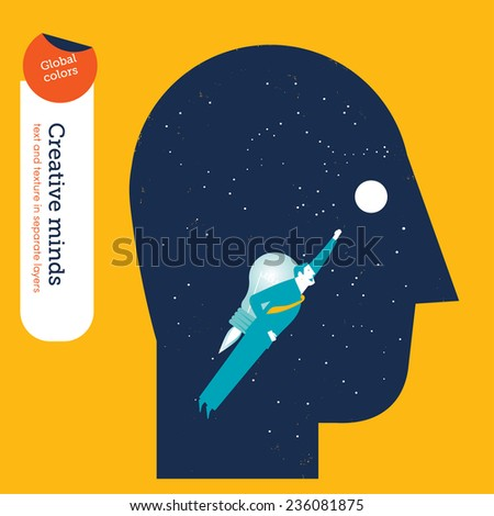 Businessman flying in a head with bulb rocket. Vector illustration Eps10 file. Global colors. Text and Texture in separate layers. - stock vector