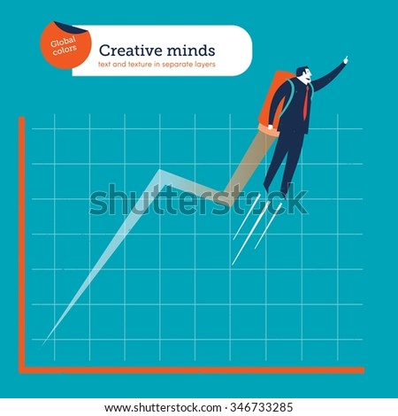 Businessman flying with a rocket he is very creative.  Vector illustration Eps10 file. Global colors. Text and Texture in separate layers. - stock vector