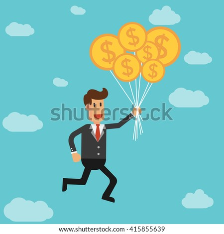 businessman flying with balloons. Successful business concept. Vector line design illustration. Square layout