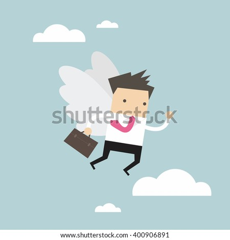 Businessman flying with his wing.