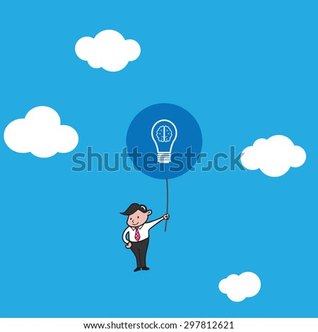 Businessman flying with idea balloons - stock vector