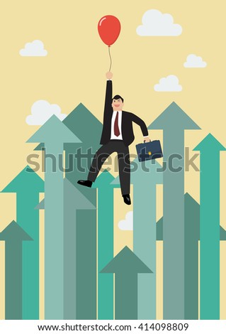 Businessman flying with red balloon against growing up arrows. Business concept - stock vector