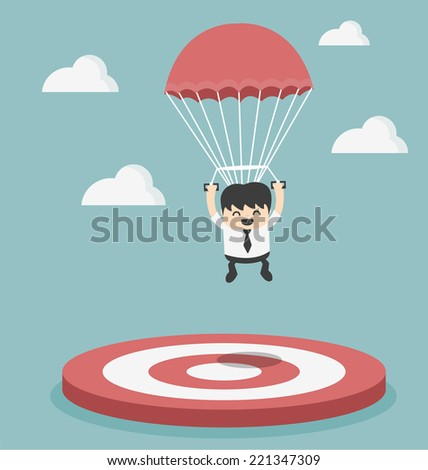 Businessman focused on a target  - stock vector