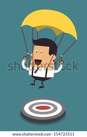 Businessman focused on a target with parachute, Business concept - stock vector