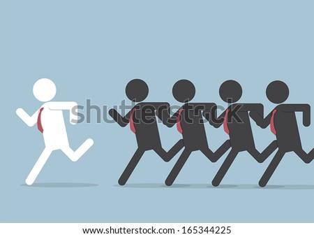 Businessman following leader, VECTOR, EPS10 - stock vector
