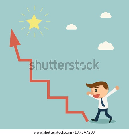 Businessman found arrow graph way to the star. Way to Success concept. - stock vector