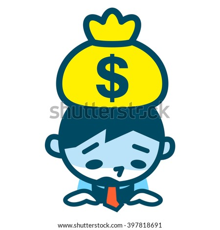 Businessman from falling in the failure of the business - stock vector