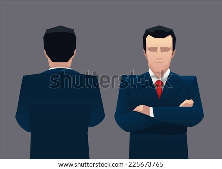 Businessman front view and back vector illustration. - stock vector