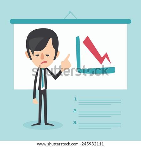 Businessman frustrated with decrease arrow chart. Economic crisis concept. Vector illustration  - stock vector