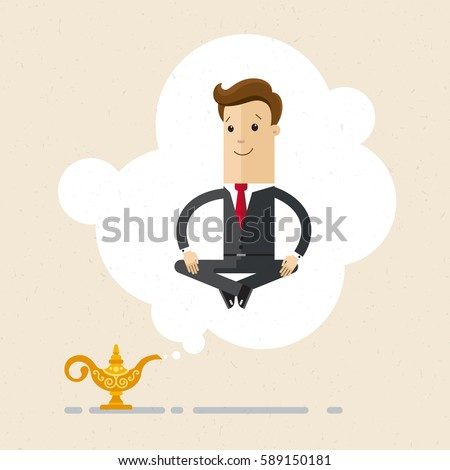 Businessman Genie Coming Out Of A Magic Gold Lamp Like From Aladdin Business Concept