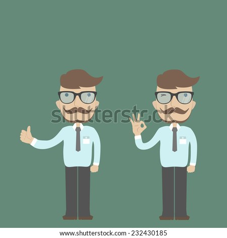 Businessman gesturing okay. Businessman with big thumb up. Business concept. - stock vector