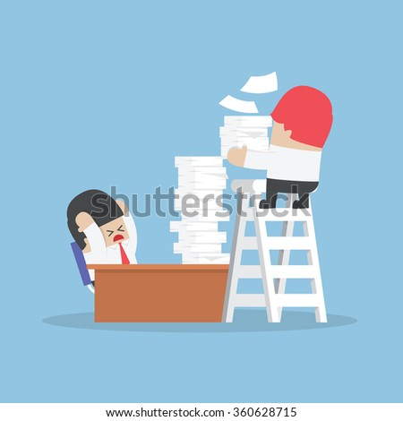 Businessman get a lot of work from his boss, Work hard concept, VECTOR, EPS10 - stock vector