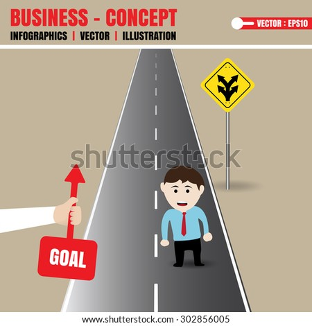 Businessman get direction from helper - stock vector