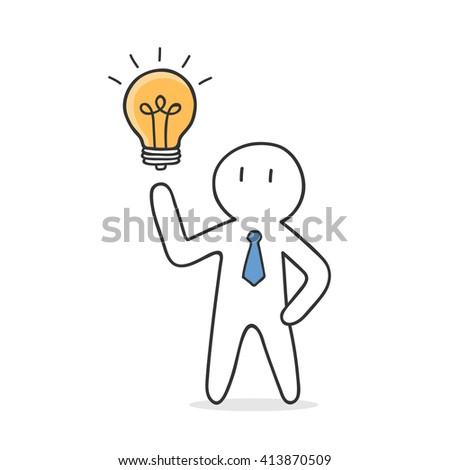 Businessman Get Idea. Hand Drawn Doodle Business Illustration. - stock vector