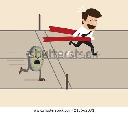 Businessman get win over a clock on the running track - stock vector