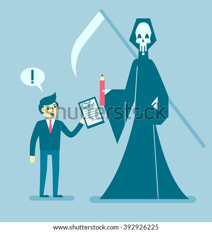 Businessman gets contract from grim reaper, Business concept, Vector illustration - stock vector