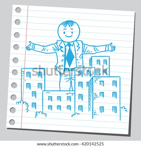 Businessman giant over city - stock vector
