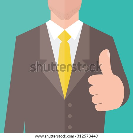 Businessman give thumb up sign. Flat design.