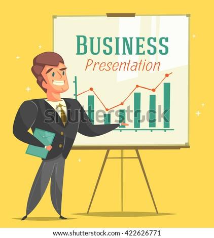 Businessman gives a presentation. Cartoon style character. Vector illustration.   - stock vector