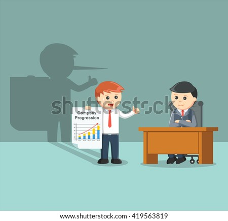 businessman giving a fake report - stock vector