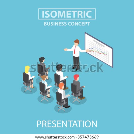 Businessman giving a presentation in a conference meeting, Flat 3d web isometric design, VECTOR, EPS10 - stock vector