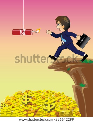 Businessman giving hand to keep the Bomb.It's concept for Business Risk. - stock vector