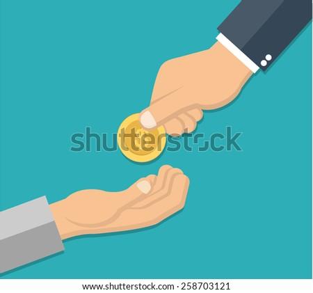 Businessman giving money to beggar - stock vector