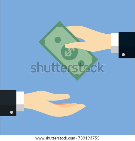 Businessman giving or offering bag of money to another hand. Receiving money concept. Vector Flat Design