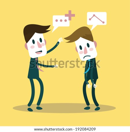 Businessman giving positive word to his partner. business partnership concept. vector - stock vector