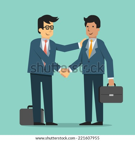 Businessman giving shaking hands and support friend, partner, subordinate or colleague to join business. Trendy flat design. - stock vector