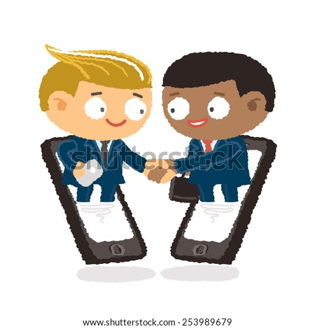 Businessman giving shaking hands and support friend to join business with mobile phone - freehand drawing vector Illustration - stock vector