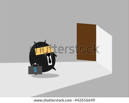 Businessman go to opened door. Business vector illustration cartoon character abstract concept. - stock vector