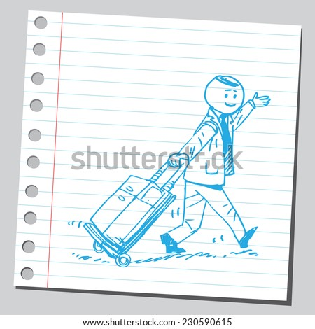 Businessman going to business trip - stock vector
