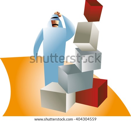 Businessman got confused and puzzled. - stock vector
